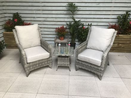 Sarah High back 3 piece lounge set in Grey with Silver Grey cushions